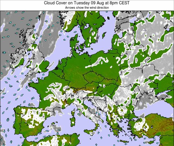 Czech Republic Cloud Cover on Friday 24 May at 8am CEST map