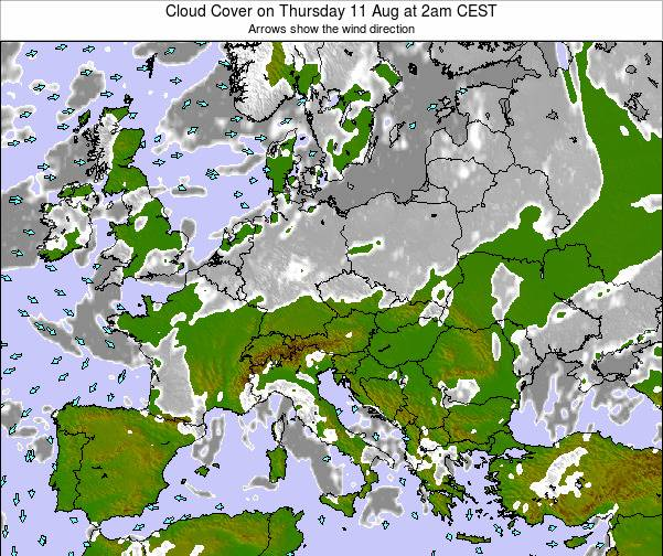 Poland Cloud Cover on Monday 24 Jun at 8am CEST