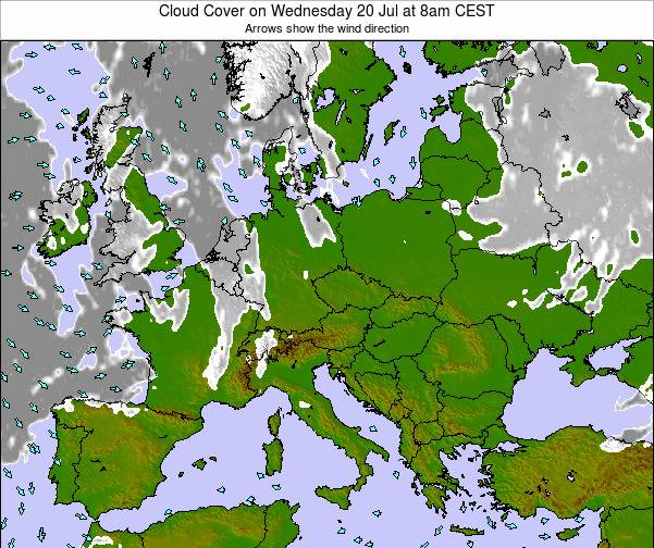 Slovenia Cloud Cover on Friday 26 Jan at 7pm CET map