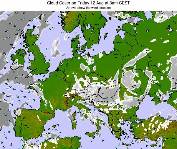 Montenegro Cloud Cover on Friday 31 May at 2pm CEST map