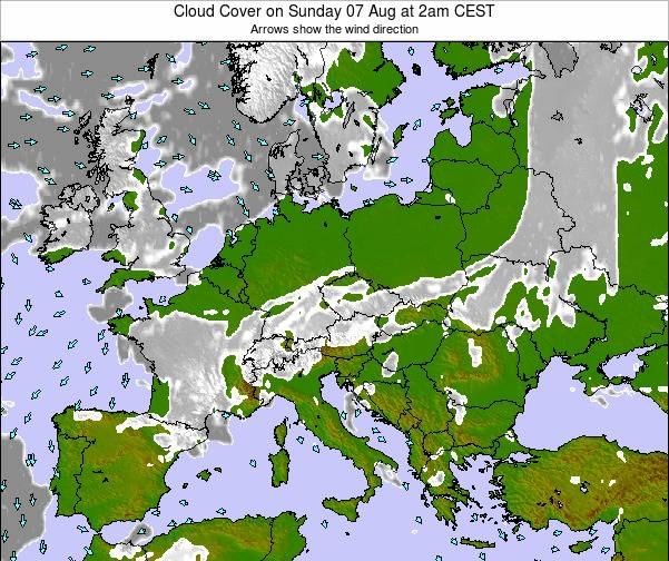 Slovenia Cloud Cover on Thursday 01 Mar at 1am CET map