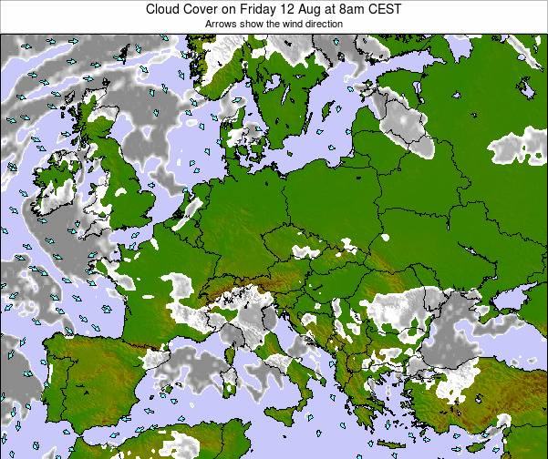 Montenegro Cloud Cover on Thursday 30 May at 2pm CEST map