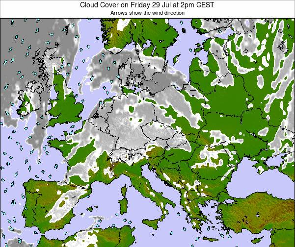Czech Republic Cloud Cover on Monday 24 Jun at 2pm CEST map