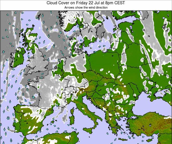 Montenegro Cloud Cover on Wednesday 29 May at 2pm CEST map