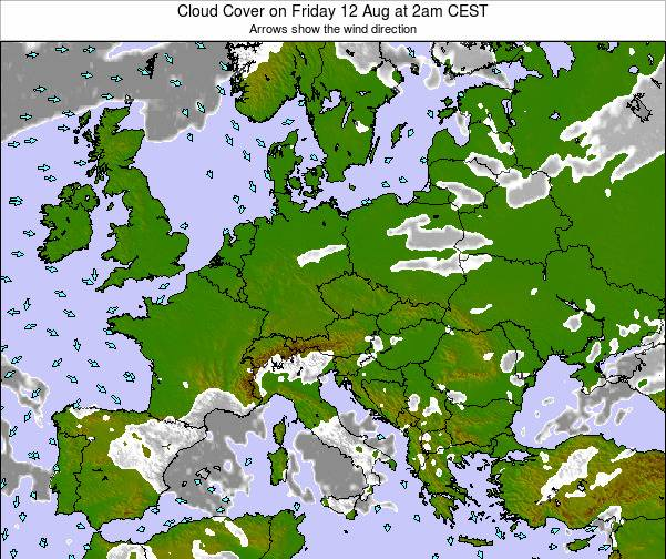 Slovakia Cloud Cover on Wednesday 26 Jun at 8am CEST map