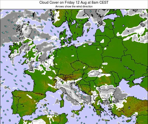 Czech Republic Cloud Cover on Tuesday 28 May at 2am CEST map
