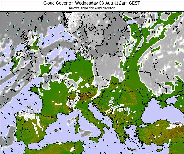 Poland Cloud Cover on Wednesday 22 May at 8pm CEST