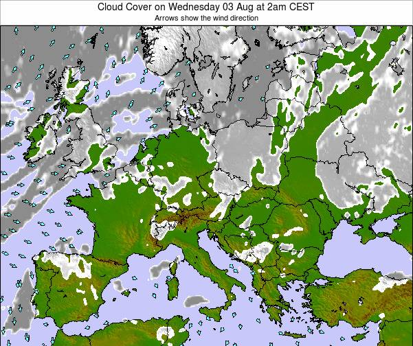 Croatia Cloud Cover on Wednesday 26 Jun at 8am CEST map
