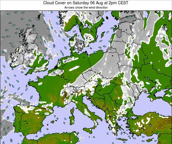 Slovenia Cloud Cover on Monday 25 Jun at 2pm CEST map