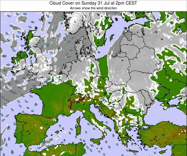 Slovenia Cloud Cover on Friday 21 Sep at 2am CEST map