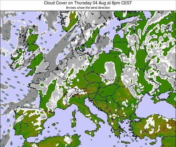 Montenegro Cloud Cover on Thursday 24 Jul at 8am CEST map