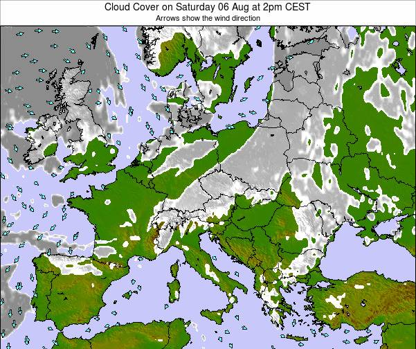 Montenegro Cloud Cover on Tuesday 22 Apr at 8pm CEST map