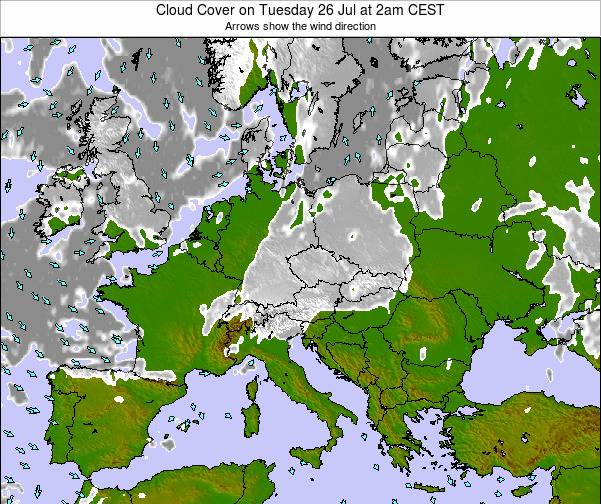 Montenegro Cloud Cover on Thursday 24 Apr at 2pm CEST map