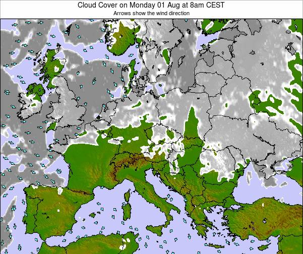 Montenegro Cloud Cover on Tuesday 11 Mar at 7am CET map