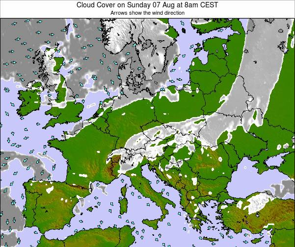 Poland Cloud Cover on Friday 24 May at 8am CEST