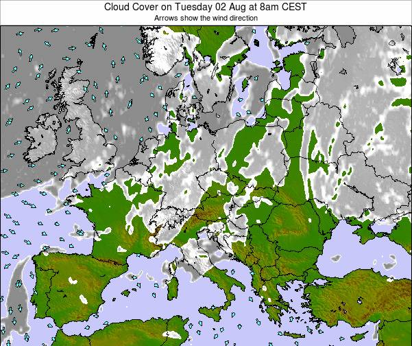 Austria Cloud Cover on Saturday 26 Jul at 8am CEST map