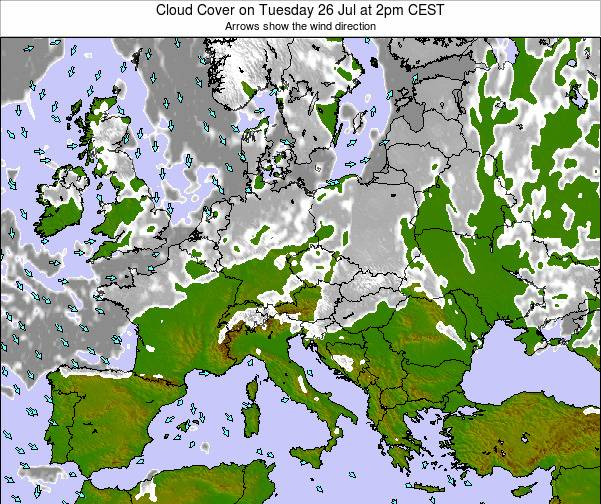 Austria Cloud Cover on Friday 25 Apr at 8am CEST map