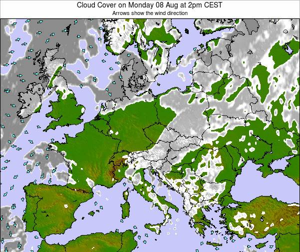Austria Cloud Cover on Friday 24 May at 2am CEST map