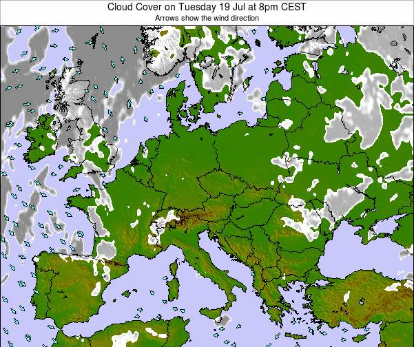 Czech Republic Cloud Cover on Saturday 25 May at 2am CEST map