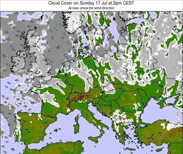 Austria Cloud Cover on Thursday 31 Jul at 8am CEST map