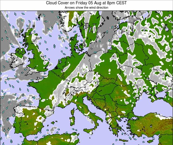 Austria Cloud Cover on Monday 10 Mar at 1pm CET map