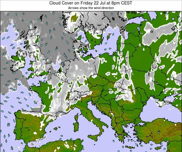 Austria Cloud Cover on Saturday 19 Apr at 8am CEST map