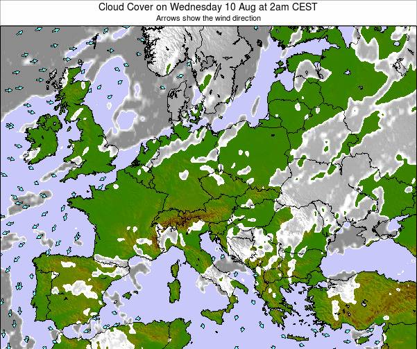 Poland Cloud Cover on Friday 21 Jun at 8am CEST map