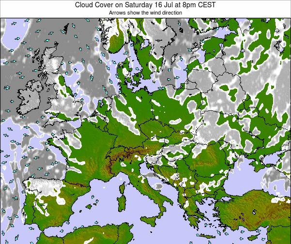Poland Cloud Cover on Saturday 25 May at 2pm CEST