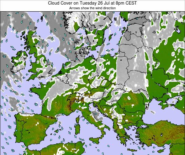 Montenegro Cloud Cover on Monday 27 May at 2am CEST map