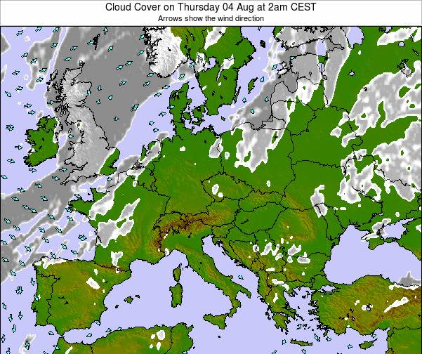 Croatia Cloud Cover on Thursday 27 Jun at 2pm CEST map
