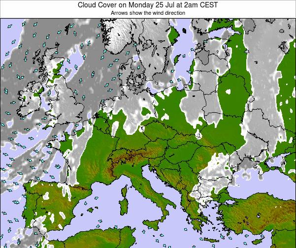 Slovenia Cloud Cover on Saturday 23 Feb at 7pm CET map