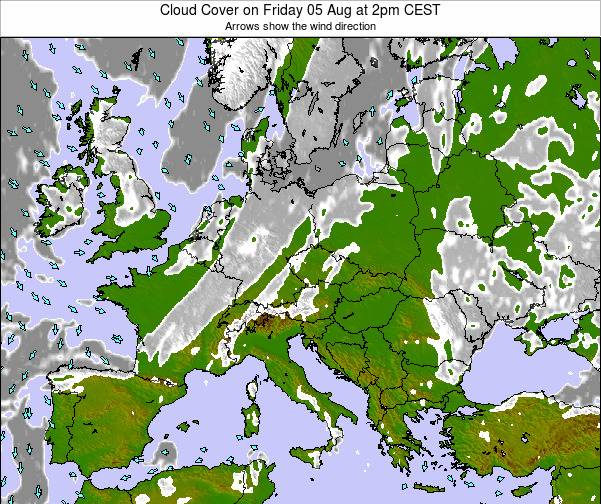 Austria Cloud Cover on Wednesday 21 Mar at 7pm CET map