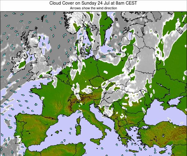 Slovenia Cloud Cover on Thursday 25 Apr at 2pm CEST map