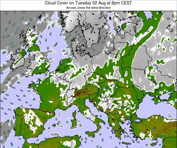 Poland Cloud Cover on Wednesday 19 Jun at 2pm CEST