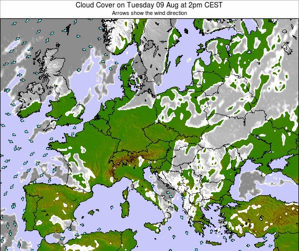 Slovakia Cloud Cover on Friday 21 Jun at 2pm CEST map