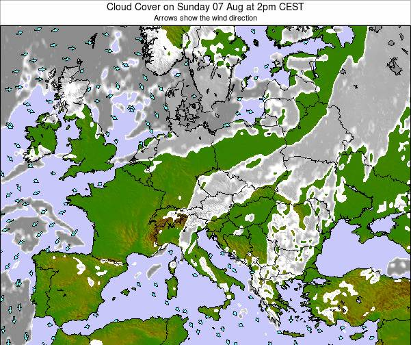 Montenegro Cloud Cover on Saturday 22 Jun at 2am CEST map