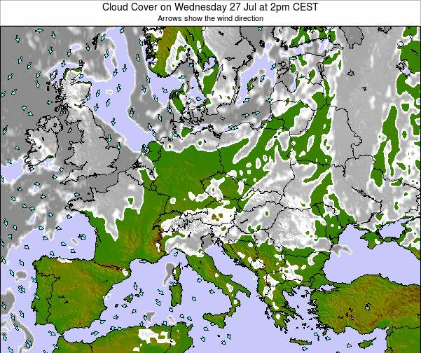 Croatia Cloud Cover on Friday 28 Jun at 2pm CEST map