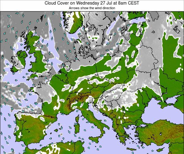 Czech Republic Cloud Cover on Tuesday 28 May at 2pm CEST map