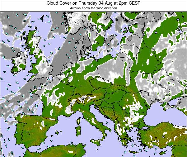 Montenegro Cloud Cover on Thursday 23 May at 2pm CEST map