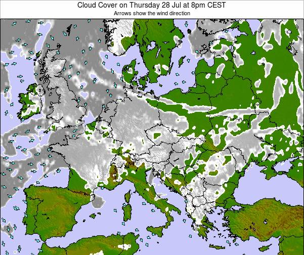 Croatia Cloud Cover on Saturday 29 Jun at 2am CEST map