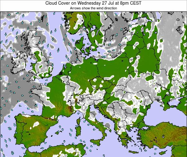 Poland Cloud Cover on Saturday 22 Jun at 2pm CEST map