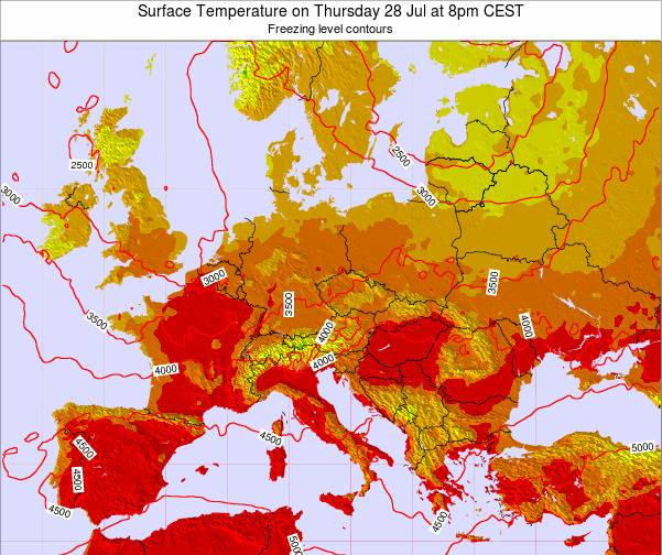 Hungary Surface Temperature on Tuesday 27 Aug at 2am CEST map