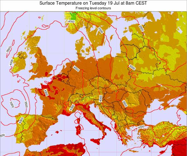 Austria Surface Temperature on Tuesday 21 May at 8pm CEST map