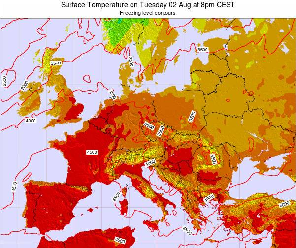 Hungary Surface Temperature on Thursday 23 May at 2pm CEST map