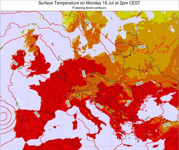 Hungary Surface Temperature on Thursday 29 Aug at 8am CEST map