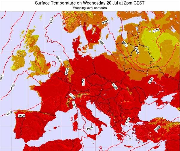 Hungary Surface Temperature on Wednesday 28 Aug at 2am CEST map