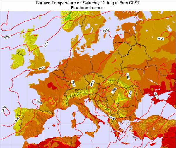 Hungary Surface Temperature on Monday 26 Aug at 2pm CEST map