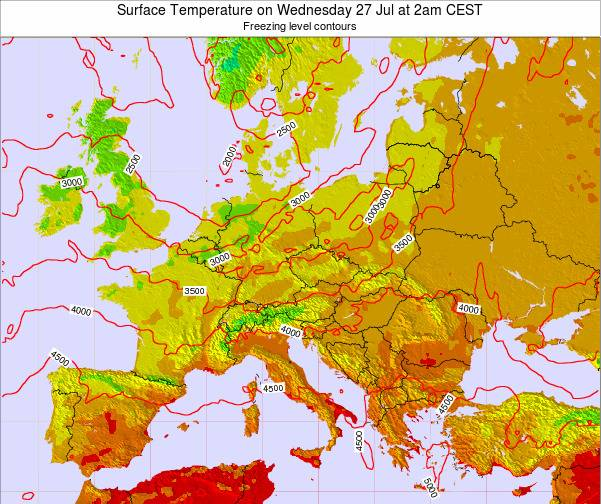 Austria Surface Temperature on Wednesday 22 May at 8am CEST map