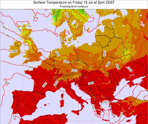 Hungary Surface Temperature on Thursday 22 Aug at 8pm CEST map