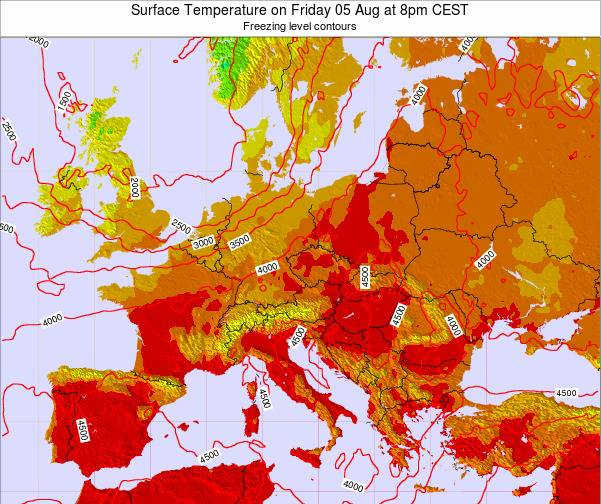 Hungary Surface Temperature on Thursday 13 Dec at 7am CET map